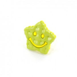 Polyester Button Smiley star - pistachio/yellow