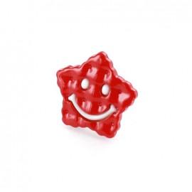 Bouton Polyester Etoile Smile bicolore rouge/ blanc