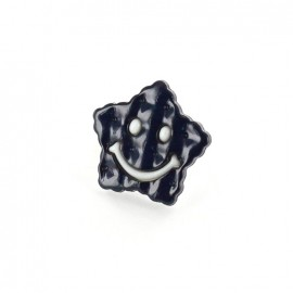 Polyester Button Smiley star - white/navy blue