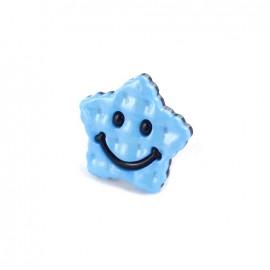 Bouton Polyester Etoile Smile bicolore bleu/ marine