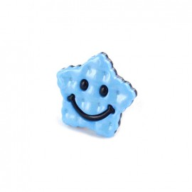 Polyester Button Smiley star - blue/navy blue