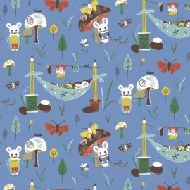 Tissu Mouse Camp - A fond bleu x 10 cm