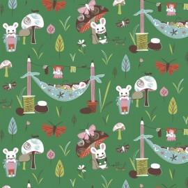 Tissu Mouse Camp - A fond vert x 10 cm