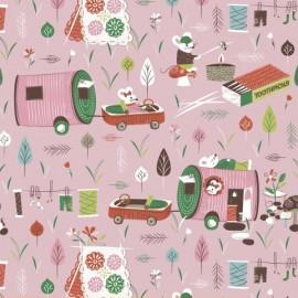 Tissu Mouse Camp - B fond rose x 31 cm