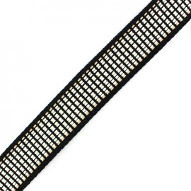 Cotton woven strap x 50 cm checkered - black/white