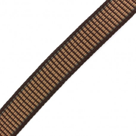 Sangle Tissée quadrillée marron/ noisette x 1 m