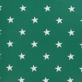 Tissu Oeko-Tex toile cirée Stars blanc fond vert x 10cm