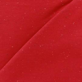 Tissu sweat moucheté rouge x 10cm