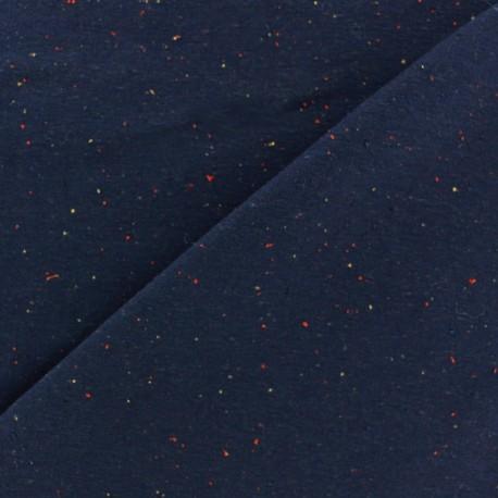 Flecked sweat fabric - navy blue x 10cm