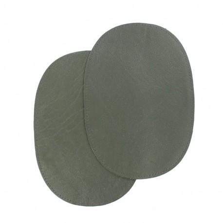 Genuine lamb-leather elbow patch - khaki