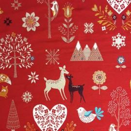 Tissu Christmas Vibe fond rouge x 68 cm