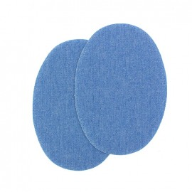 Sew-on Vinyl elbow patch - light denim