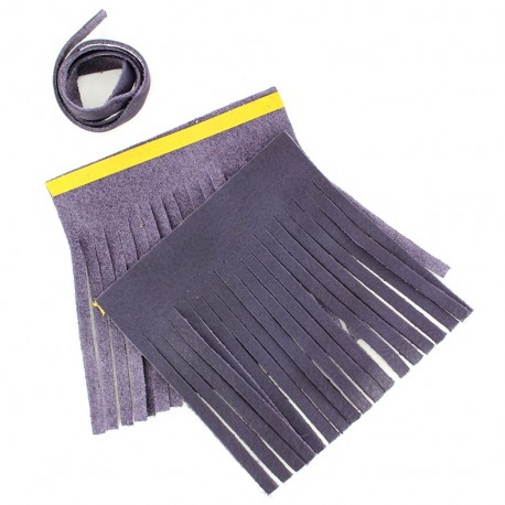 """Set of leather double pompom, large-size """"Prown"""" - purple"""