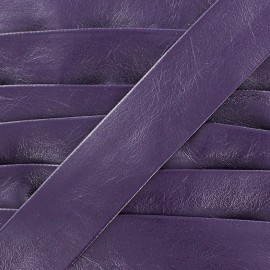 Imitation leather bias binding, Cuero 20 mm - purple
