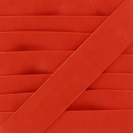 Imitation leather bias binding, Cuero 20 mm - red