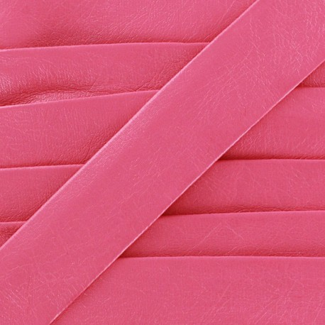 Imitation leather bias binding, Cuero 20 mm - fuchsia
