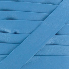Imitation leather bias binding, Cuero 20 mm - blue