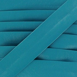 Imitation leather bias binding, Cuero 20 mm - cyan cornflower blue