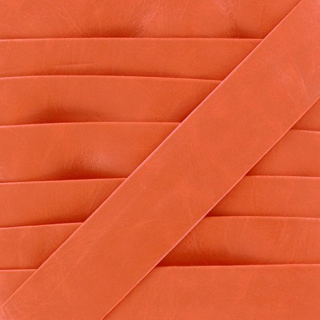 Imitation leather bias binding, Cuero 20 mm - orange