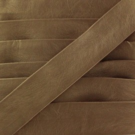 Imitation leather bias binding, Cuero 20 mm - golden brown