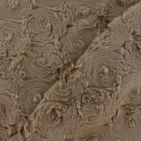 Fourrure fantaisie rosace beige foncé x 10cm