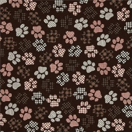 Tissu Top Paws Brown x 10cm