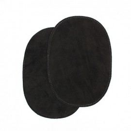 Calfleather velvet elbow patch - black