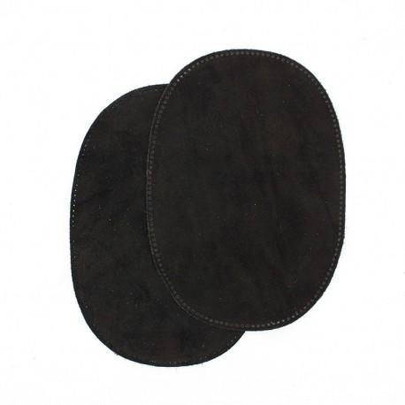 Calfleather velvet elbow patch - black