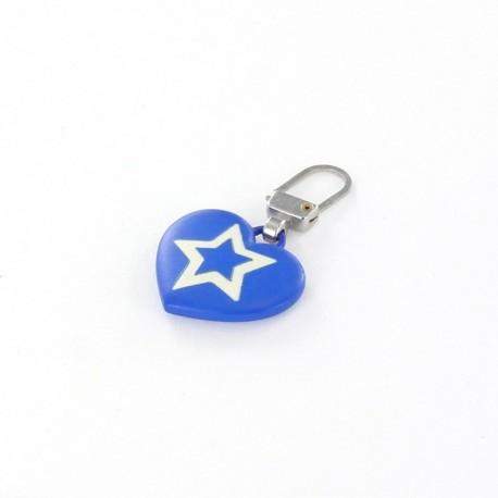 Zipper pull Starry heart - royal blue