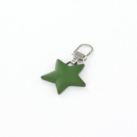 Zipper pull Plain Star - green