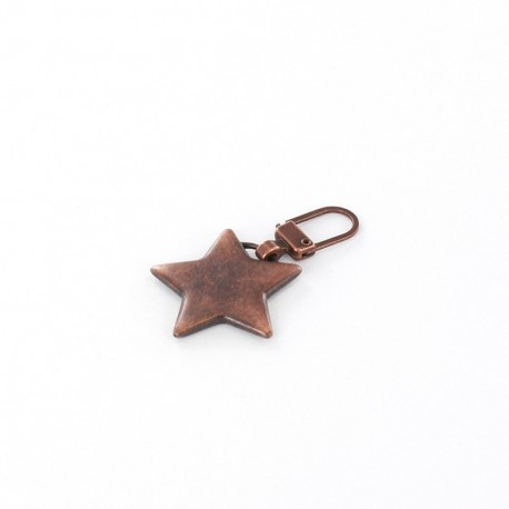 Zipper pull metal Star - copper