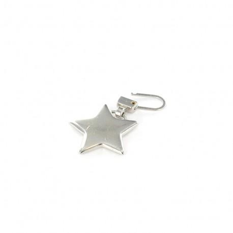 Zipper pull metal Star - silver