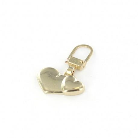 Zipper pull Two hearts - golden