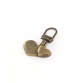 Zipper pull Two hearts - bronze