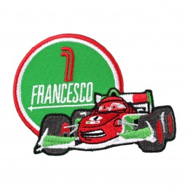"Embroidered ""Cars"" Francesco iron-on applique - green"