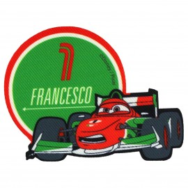 """Cars"" Francesco canvas iron-on applique - green"