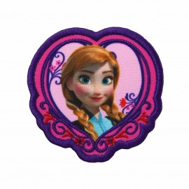 "Embroidered ""The Snow Queen"" Anna's heart portrait iron-on applique - purple"