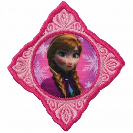 "Embroidered ""The Snow Queen"" Anna's portrait iron-on applique - pink"