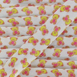 Bias tape Teddy Bear - lime/pink