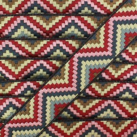 Jacquard braid trimming ribbon, Machu Picchu - red