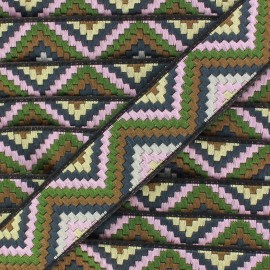 Jacquard braid trimming ribbon, Machu Picchu - green