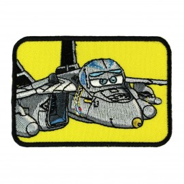 "Embroided ""Planes Bravo"" iron-on applique - grey"