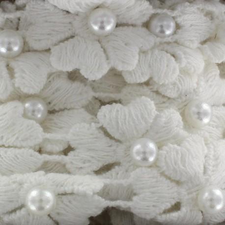 Guipure Fleurs et perles nacrées blanc x 50cm