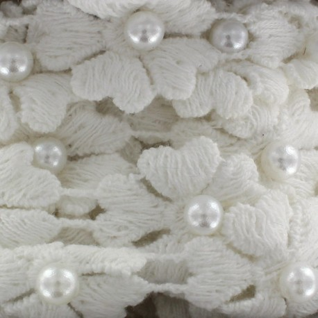 Guipure lace ribbon, Flowers and pearly beads x 50cm - white