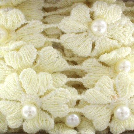 Guipure lace ribbon, Flowers and pearly beads x 50cm - light yellow