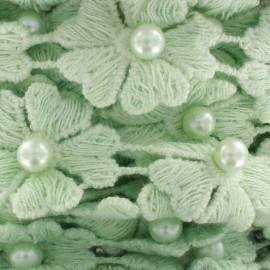 Guipure Fleurs et perles nacrées vert d'eau x 50cm