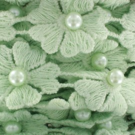 Guipure lace ribbon, Flowers and pearly beads x 50cm - sea green