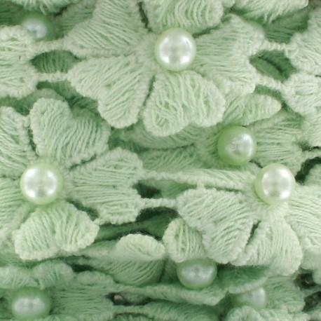 Guipure Fleurs et perles nacrées vertd'eau x 50cm