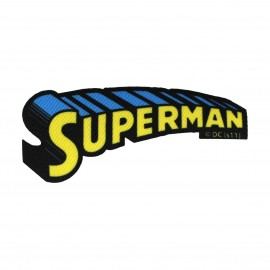 Canvas Superman Name iron-on applique - yellow/blue