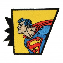 Embroidered Superman Action iron-on applique - yellow